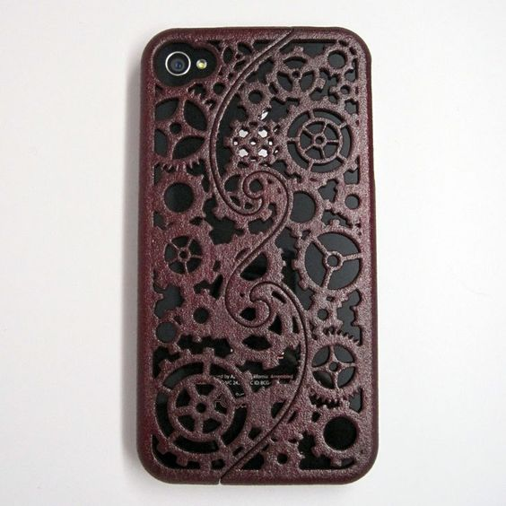 Ready-To-Ship Brown-Red iPhone 4/4S 3D printed Designer Steampunk Gear case