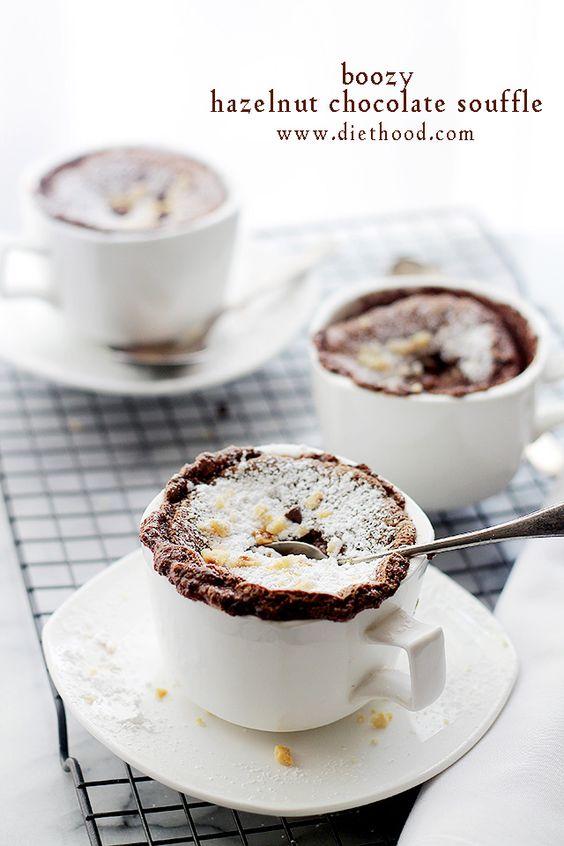Boozy Hazelnut Chocolate Souffle | www.diethood.com