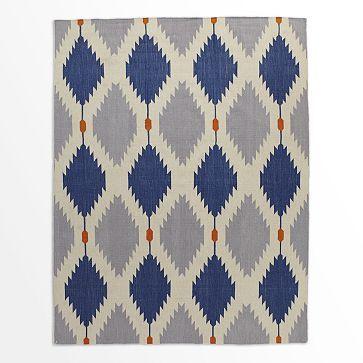 Phoenix Wool Dhurrie Rug - Regal Blue #westelm MASTERBR