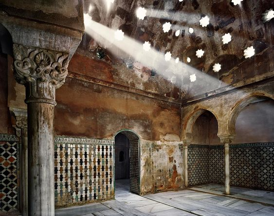 *SPAIN~The light filters through the skylights Comares bath.  An unprecedented view of the Alhambra by Jean Laurent and Fernando Manso.  Photography © Fernando Manso.  Courtesy National Archaeological Museum.  Pointing up the image to enlarge it.