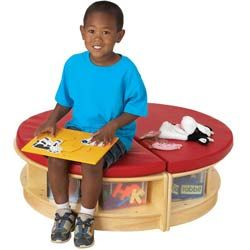 Read-a-Round padded bench with cubbie storage