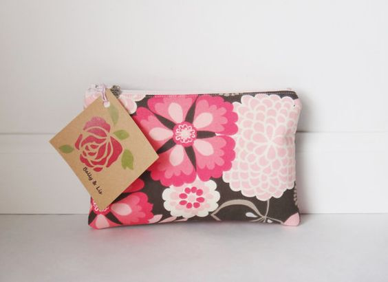 Floral Small Cosmetic Bag Small Pouch Makeup Bag by BallyandLis