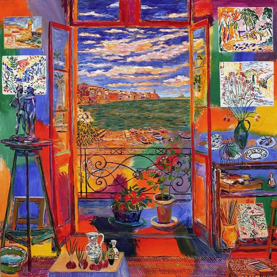 """matisse painting of his studio (perhaps better than a color photo?) by Damian Elwes - he has a wonderful series of """"Artist Studio"""" paintings!:"""
