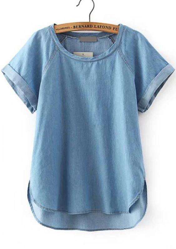 Blue Short Sleeve Dip Hem Denim Blouse - abaday.com