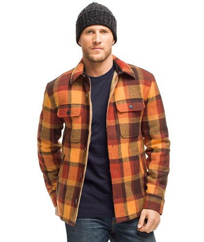 Signature Lined Wool-Blend Shirt Jacket, Slim Fit Plaid: Shirts ...
