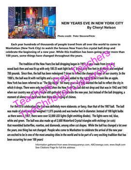 History Of New Years Eve Ball Drop Celebration Nyc Reading Comprehension Sheet Reading Comprehension New Years Eve Ball Comprehension