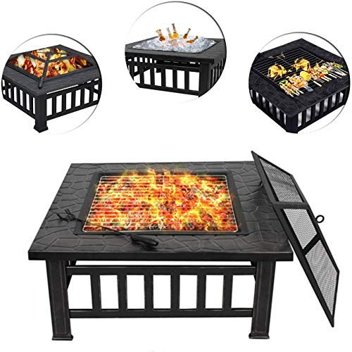 Amazing Offer On Zeny Outdoor 32 Metal Fire Pit Bbq Square Table Backyard Patio Garden Stove Wood Burning Fireplace Spark Screen Cover Poker Cover G In 2020 Fire Pit Bbq Metal Fire Pit Wood