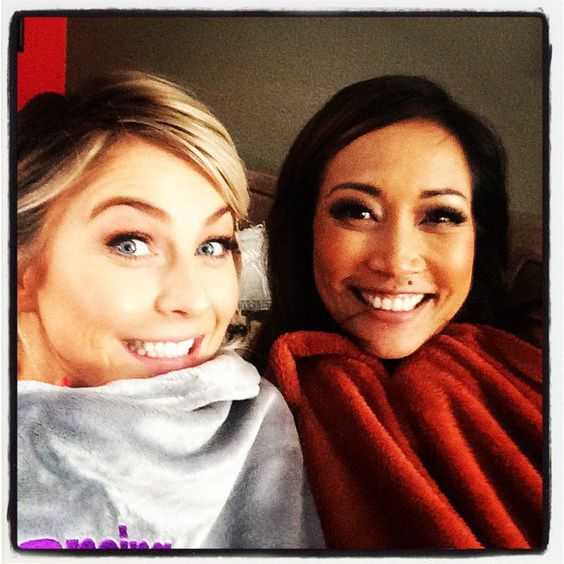 Pin for Later: Stars Share Their Favorite Things in This Week's Cutest Celebrity Candids  Julianne Hough stayed warm with Carrie Ann Inaba for Dancing With the Stars. Source: Instagram user juleshough