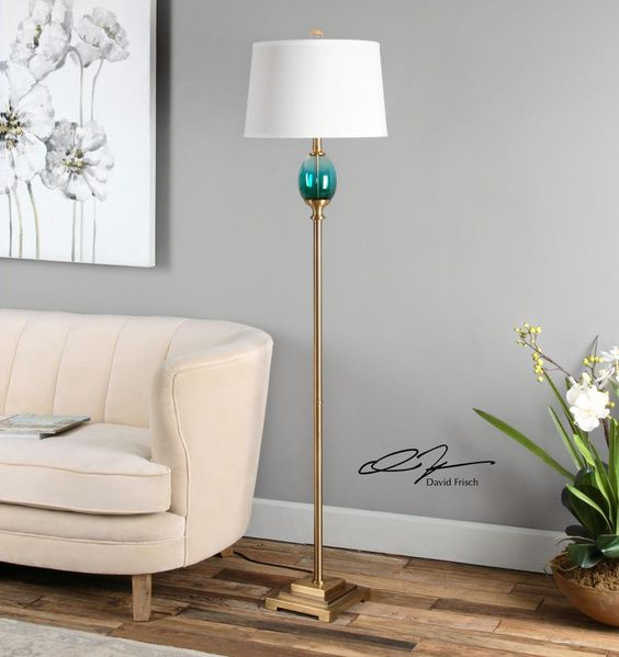 9PUL0 - Cavaillon Blue-Green Glass Floor Lamp