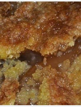 Caramel Apple Dump::  Caramel Apple Dump cake recipe with 4 ingredients ~ Making delicious apple dessert recipes doesn't get much easier than this!