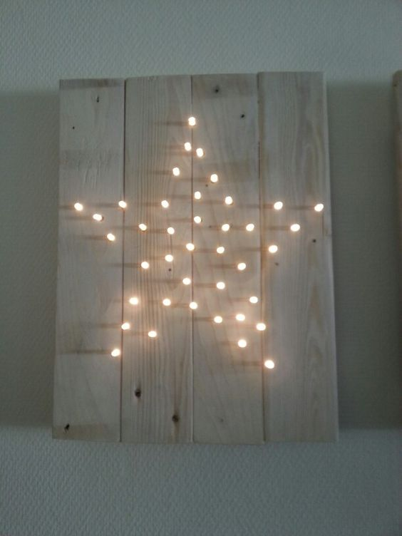 Palleten bild mit lichterkette in sternform sch ne for Wanddeko weihnachten