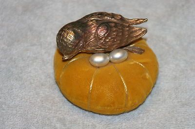Unique English Antique Bird w/Eggs in Nest Thimble Holder & Pin Cushion; early 1800's: