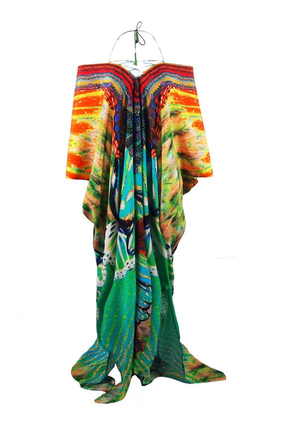 Luxury Long Lace Up Kaftan Dress in Aqua Green print Butterfly - Long Lace-Up Kaftan - Kaftans Dresses - Shop by Style