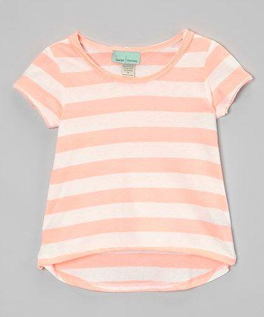 Look what I found on #zulily! Peach & White Hi-Low Tee - Infant, Toddler & Girls #zulilyfinds