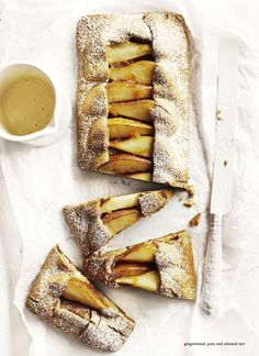 Donna Hay :: gingerbread pear almond tart :: recipe here :: http://www.donnahay.com.au/menus/warming-classics/best-sweet-pies/pear-and-almond-tart
