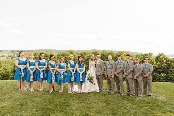 blue bridesmaids and grey groomsmen