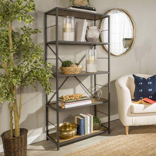 New 63 Inch Tall Metal Frame Shelf Rustic Bookshelf Wood Bookshelves Metal Shelves