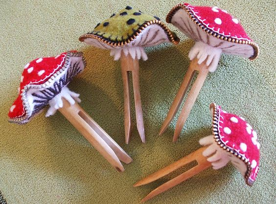 Clothes peg mushroom pin cushion by woolly  fabulous, via Flickr