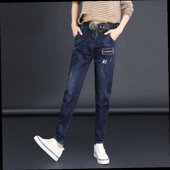 52.00$  Watch here - http://alidz1.worldwells.pw/go.php?t=32763453436 - Autumn women jeans all-match casual harem jeans loose denim pants elastic cotton trousers slim leg opening SY8881 52.00$
