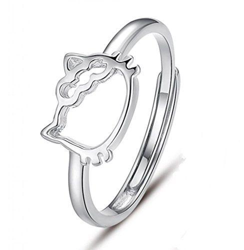 Unendlich U niedlich Katzen/Kitty/Kitten mit Damen Ringe,verstellbar,aus 925 Sterling Silber,für Hochzeits-Band/Jahrestag/Engagement/Versprechen,Größe 53 (16.9) (Es jemandem ermöglichen, seine eigenen Worte einzugravieren/einzumeißeln) | Your #1 Source for Jewelry and Accessories