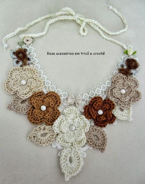Rosa acessórios em tricô & crochê: Maxi Colar de Crochê                                                                                                                                                      Mais