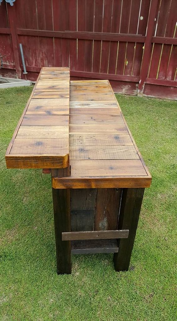 Wood bar table bar stools bar tables pinterest Rustic outdoor bar stools