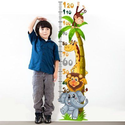 """Adesivo murale per bambini Wall Art """"Metro animaletti simpatici"""" - Misure 120x30 cm - Decorazione parete, adesivi per muro, carta da parati"""