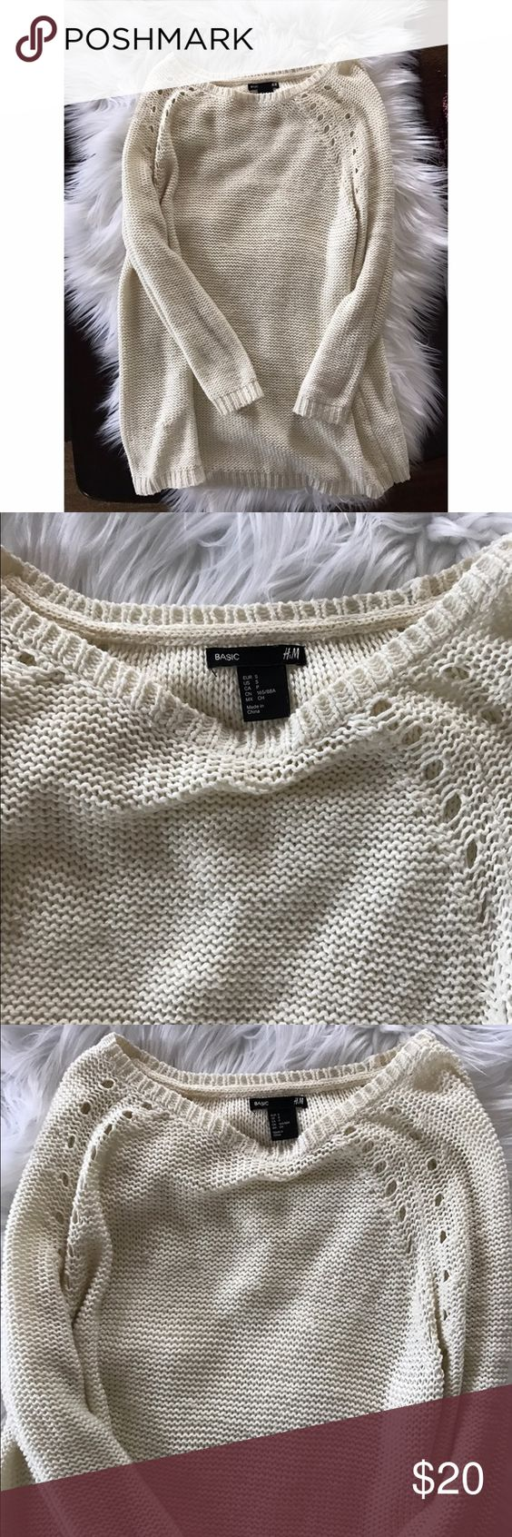 H&M crochet sweater so comfy Great condition H&M Sweaters Crew & Scoop Necks
