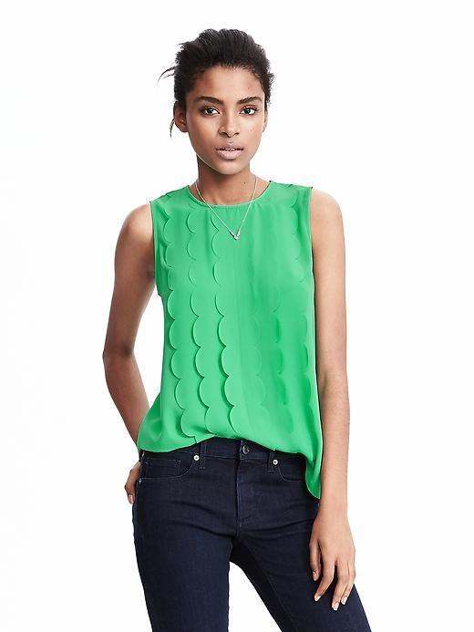 Green (or pink) scallop sleeveless blouse