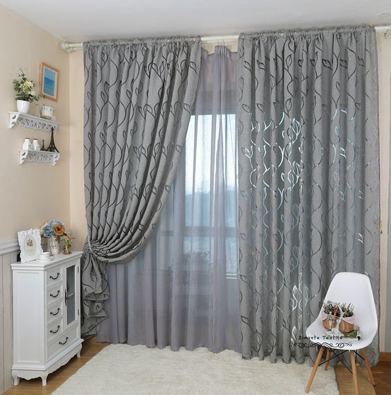 Leaf Style Design Jacquard Curtain Blind For Window Living