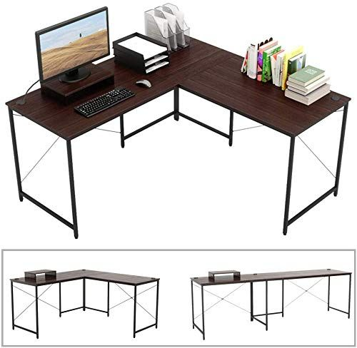 Buy Bestier L Shaped Computer Desk 95 5 Two Person Large Gaming Office Desk Adjustable L Shaped Long Desk Two Method Free Monitor Stand Home Writing Desk D In 2020 Gaming Office Desk Long