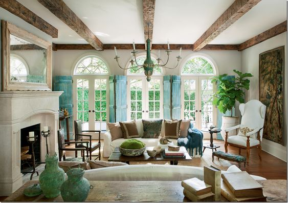 green and blue living room gorgeous beams