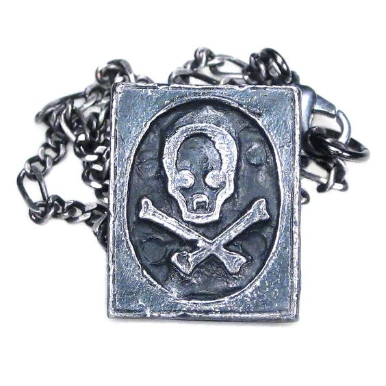 Skull & Crossbones Poison Symbol Necklace Pirate Jewelry Jolly Roger Pendant Gunmetal Chain - Stanley