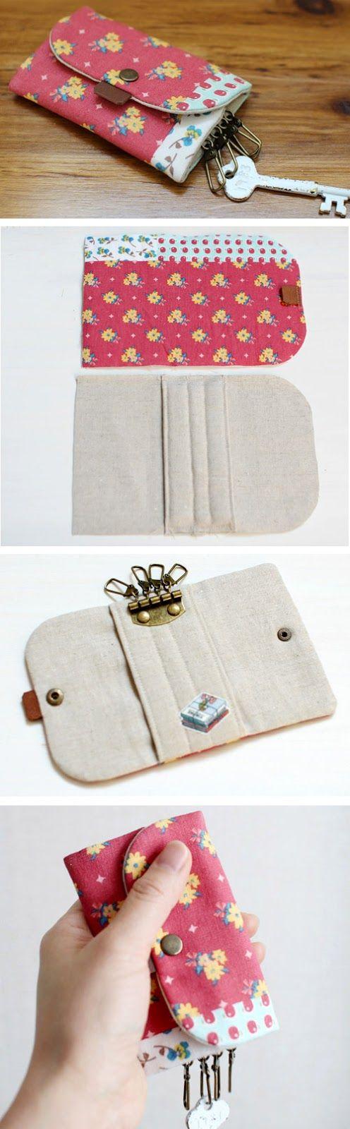 DIY Convenient keychain key holder. How to sew fabric. Tutorial in Pictures.   http://www.handmadiya.com/2015/10/key-chain-bag-holder-tutorial.html