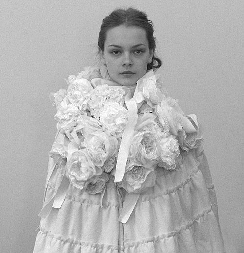 Artistic Fashion - sculptural cocoon cape coat with fabric flowers // Comme des Garcons Fall 2006