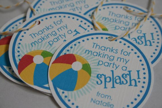 Beach Ball Pool Party Favor Tags  Set of 12 by snicklefritzandpj, $5.00