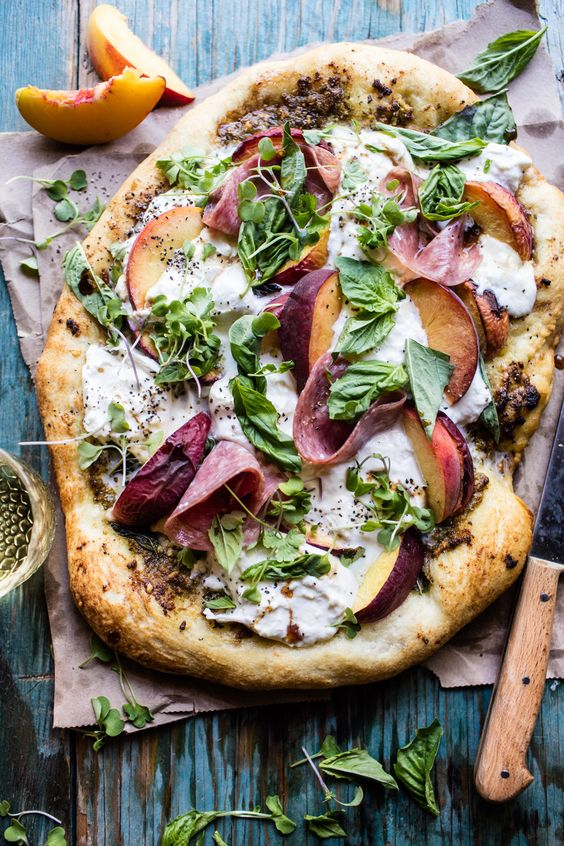 Peach Burrata Pizza with Honey Balsamic - a deliciously, super easy pizza, ready in under 30 minutes! From halfbakedharvest.com