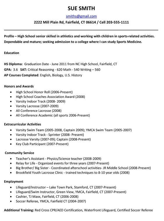 Sample Resumes High School Resume Template College Application Resume High School Resume