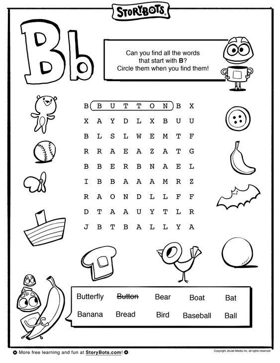 Letter B Word Find - ABC Activity Sheets - StoryBots | Theme ...
