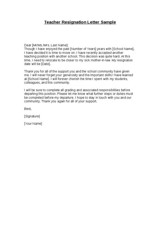 The 25+ best Teacher resignation letter ideas on Pinterest - sample retirement letter