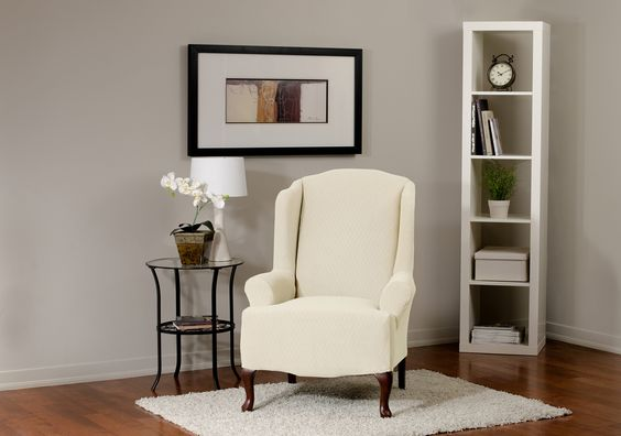 Diamond Stretch Bone Wing Chair Slipcover, deeply embossed diamond pattern upholstery, form fit slip cover design, living room, beautiful interior design, chic home decor