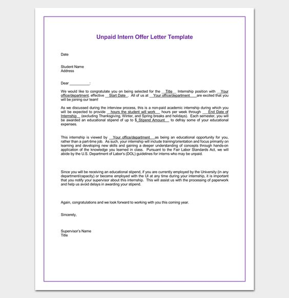 unpaid internship appointment letter word doc templates free - internship offer letter