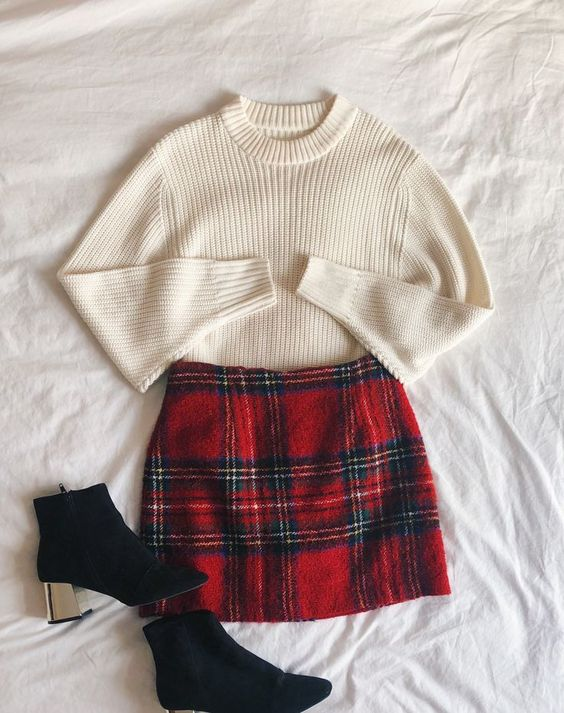 Christmas outfit, fashion, flatlay, winter