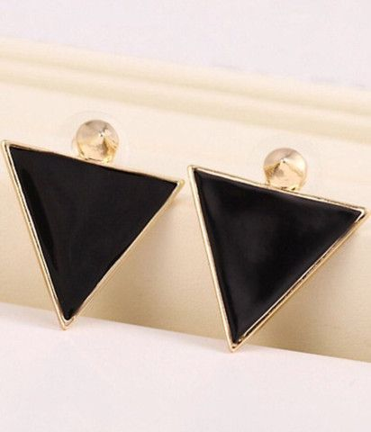 Black Glaze Gold Triangle Earrings - Y-LOOK