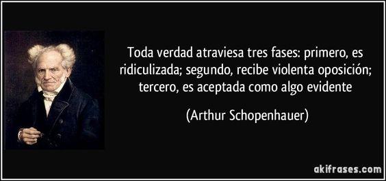 Toda verdad atraviesa tres fases: primero, es ridiculizada; segundo, recibe violenta oposición; tercero, es aceptada como algo evidente (Arthur Schopenhauer)