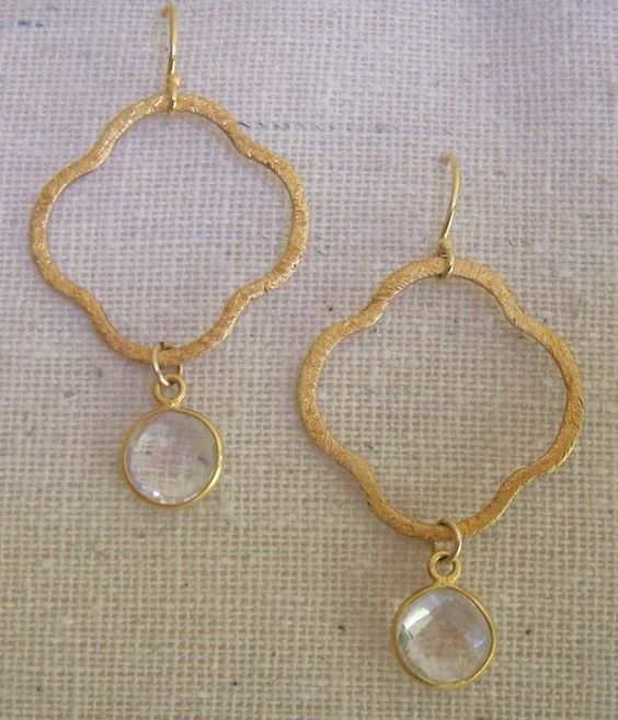 Quatrefoil Vermeil with Crystal Dangle turquoise by trebelladallas, $38.00