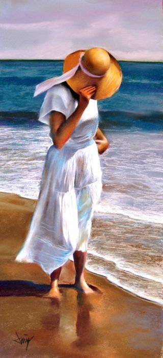 Domingo álvarez Mujer En La Playa Con Pamela Mujer En La Playa Pintura De Playa Mural De Playa