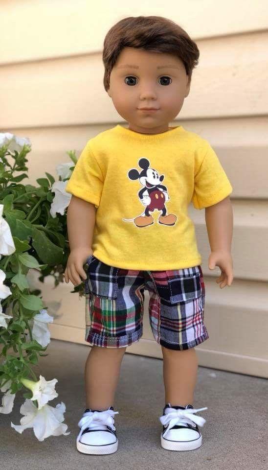 "Plaid Shirt Cargo Shorts Set  Fits 18/"" American Boy or Girl Doll Clothes"