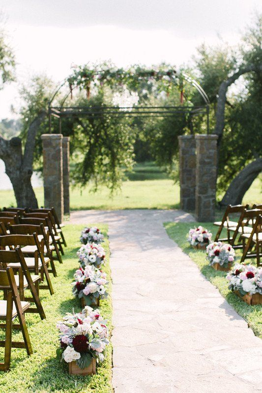 Outdoor Wedding Ceremony Decor With Floral Aisle Markers And
