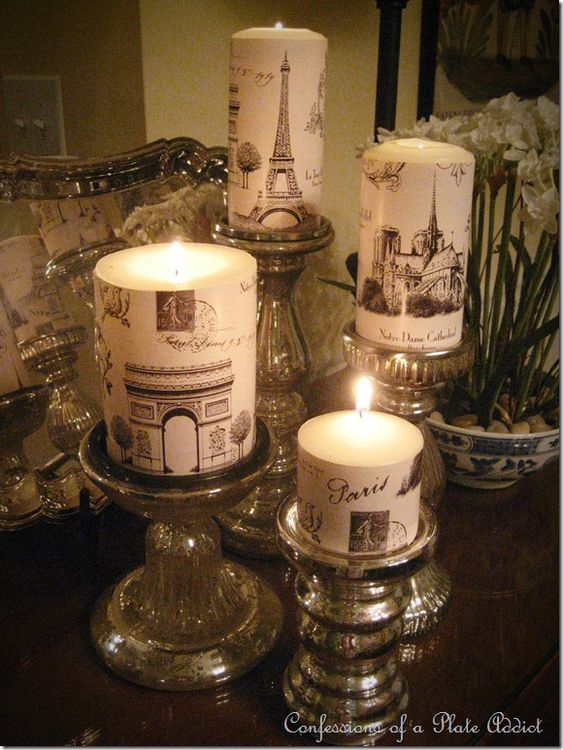 Parisian inspired candles - I love this blog for making things with paper.  Great instructions!!!